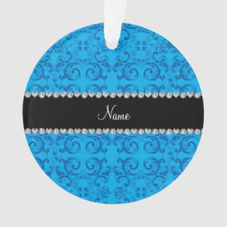 Personalized name sky blue damask swirls