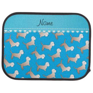 Personalized name sky blue dandie dinmont terriers car mat