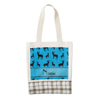 Personalized name sky blue deer sky blue stripe zazzle HEART tote bag