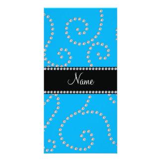 Personalized name sky blue diamond swirls custom photo card