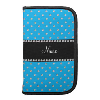 Personalized name sky blue diamonds planners