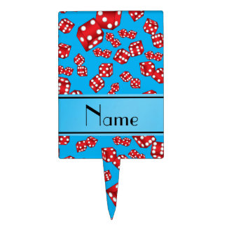 Personalized name sky blue dice pattern cake pick