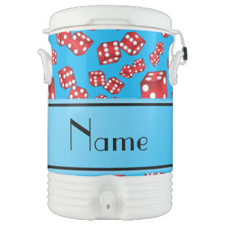 Personalized name sky blue dice pattern igloo beverage dispenser