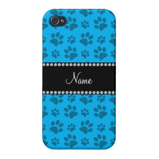 Personalized name sky blue dog paw prints iPhone 4/4S cover