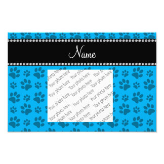 Personalized name sky blue dog paw prints photo art