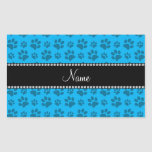 Personalized name sky blue dog paw prints rectangle stickers