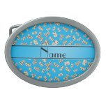 Personalized name sky blue dominos oval belt buckle