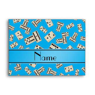 Personalized name sky blue dominos envelopes