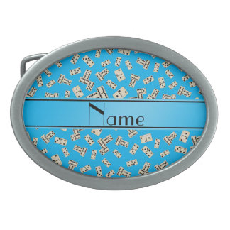 Personalized name sky blue dominos oval belt buckles
