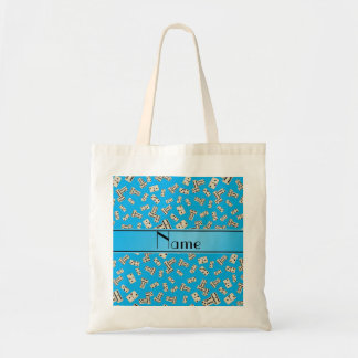 Personalized name sky blue dominos tote bag
