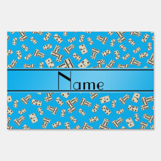Personalized name sky blue dominos yard sign