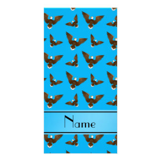 Personalized name sky blue eagles photo card