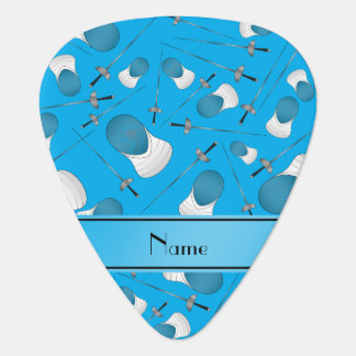 Personalized name sky blue fencing pattern guitar pick