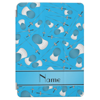 Personalized name sky blue fencing pattern iPad air cover