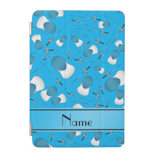 Personalized name sky blue fencing pattern iPad mini cover