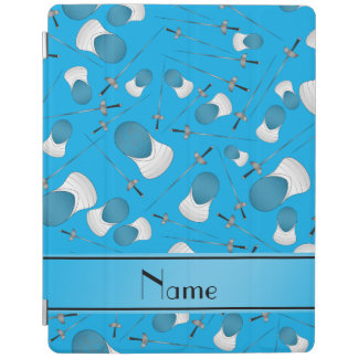Personalized name sky blue fencing pattern iPad cover