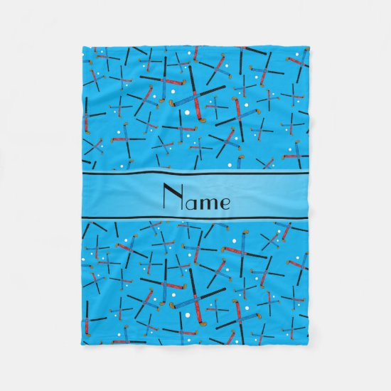 Personalized name sky blue field hockey fleece blanket