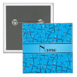 Personalized name sky blue field hockey pattern buttons