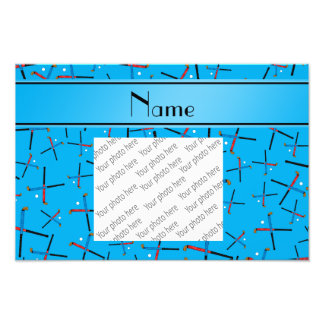 Personalized name sky blue field hockey pattern photo print