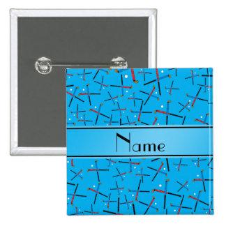 Personalized name sky blue field hockey pattern pinback button