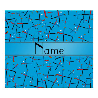 Personalized name sky blue field hockey pattern poster