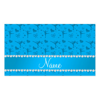 Personalized name sky blue figure skating business card