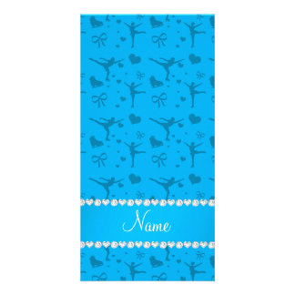 Personalized name sky blue figure skating photo card