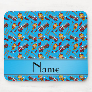 Personalized name sky blue firemen trucks ladders mouse pad