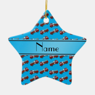 Personalized name sky blue firetrucks Double-Sided star ceramic christmas ornament