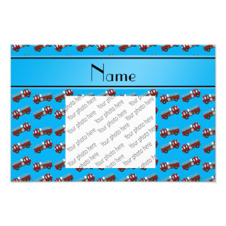 Personalized name sky blue firetrucks photographic print