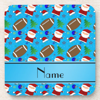 Personalized name sky blue football christmas drink coaster