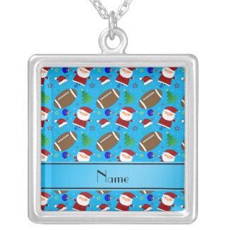 Personalized name sky blue football christmas custom jewelry
