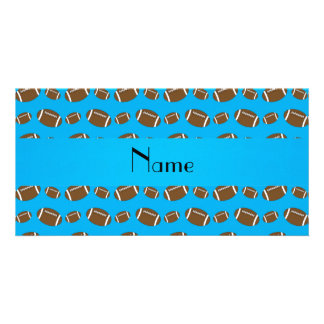 Personalized name sky blue footballs personalized photo card