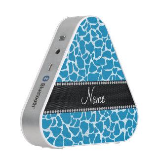 Personalized name sky blue giraffe pattern bluetooth speaker