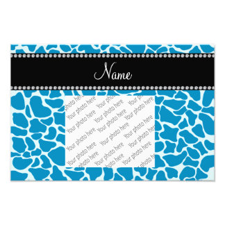 Personalized name sky blue giraffe pattern photo print