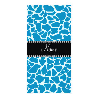 Personalized name sky blue giraffe pattern photo card