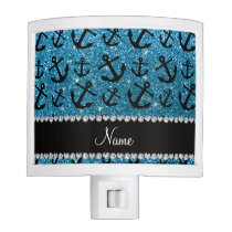 Personalized name sky blue glitter anchors night light