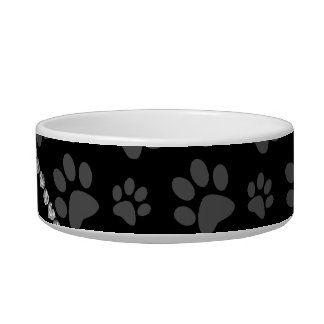 Personalized name sky blue glitter black paws bowl