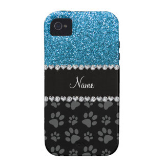 Personalized name sky blue glitter black paws vibe iPhone 4 covers