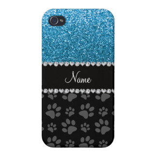 Personalized name sky blue glitter black paws iPhone 4 cases