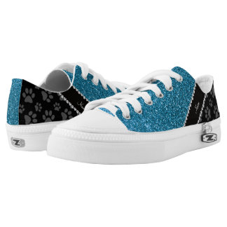 Personalized name sky blue glitter black paws Low-Top sneakers