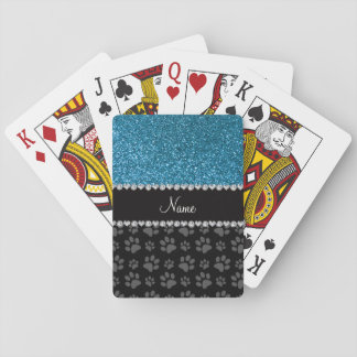 Personalized name sky blue glitter black paws playing cards