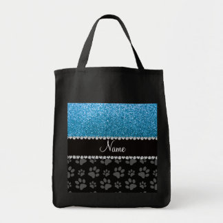Personalized name sky blue glitter black paws tote bag