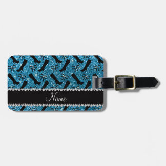 Personalized name sky blue glitter boots bows luggage tag