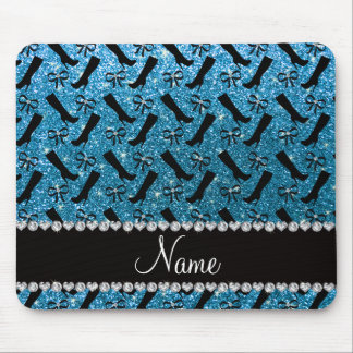 Personalized name sky blue glitter boots bows mouse pad