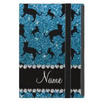 Personalized name sky blue glitter cats iPad mini cover