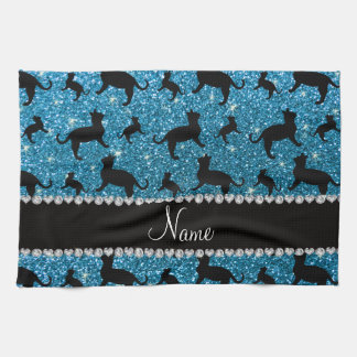 Personalized name sky blue glitter cats towel