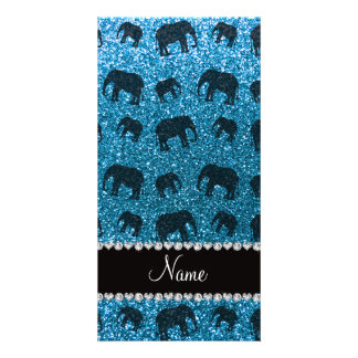 Personalized name sky blue glitter elephants photo cards