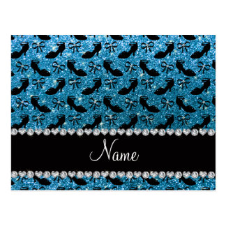 Personalized name sky blue glitter fancy shoes bow postcard