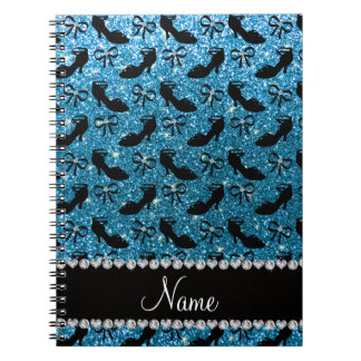 Personalized name sky blue glitter fancy shoes bow spiral notebook